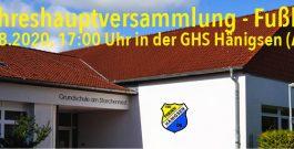 Jahreshaupt-/Mitgliederversammlung am 29.08.2020, 17:00 Uhr| Einladung & Tagesordnung